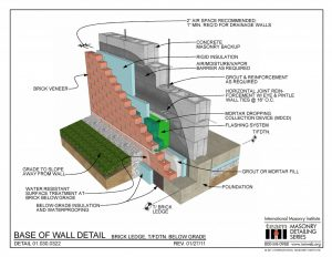 Detail made by the International Masonry Institute. Brick Ledge detail.
